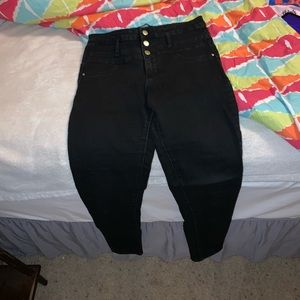 high waisted faded black skinny jeans